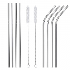 silver metal straws