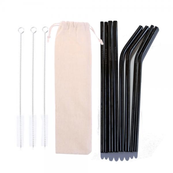 Black 12 Ser Stainless Steel straw Pack