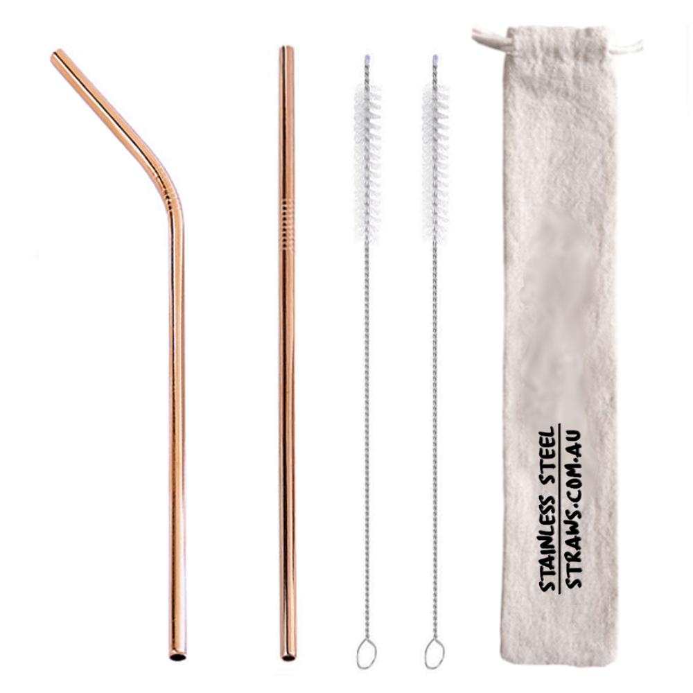 Rose Gold Metal Straws