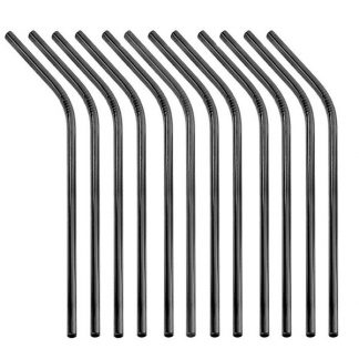 black 12 bent straws