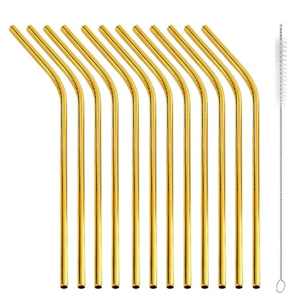 gold 12 reusable straws