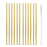gold 12 straight reusable metal straws