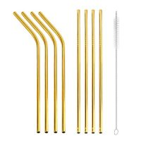 Gold Straw set of 8 metal