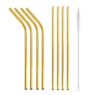 Gold Straw set of 8 metal