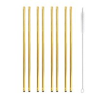 gold metal reusable straws
