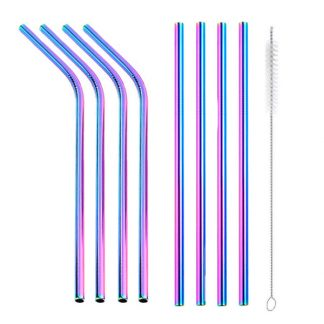 Rainbow reusable metal drinking straws