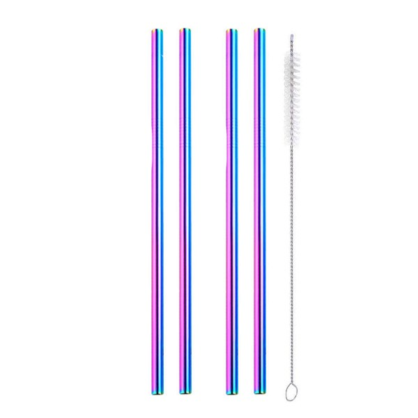 rainbow straight metal straws