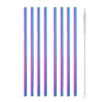 8 straight rainbow metal straws