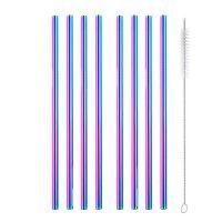 8 straight rainbow metal straws