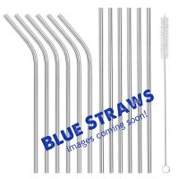 Blue 12 set reusable metal straws