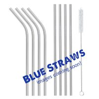 Blue metal straws 8 set