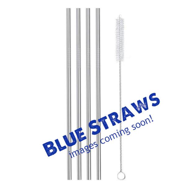 Blue Metal Straws 4 Straight